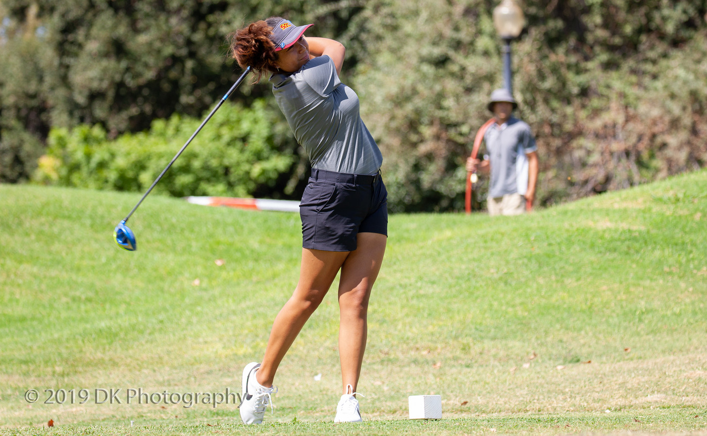 Arrianna Custodio, City College sophomore watches her drive on the first tee at the Big 8 Tournament at Bartley Cavanaugh Golf Course on Sept. 4th.