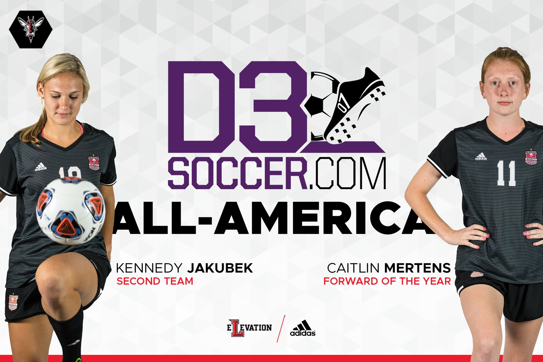 Graphic showing images of Jakubek and Mertens in uniform on white background. Text D3soccer.com all-america