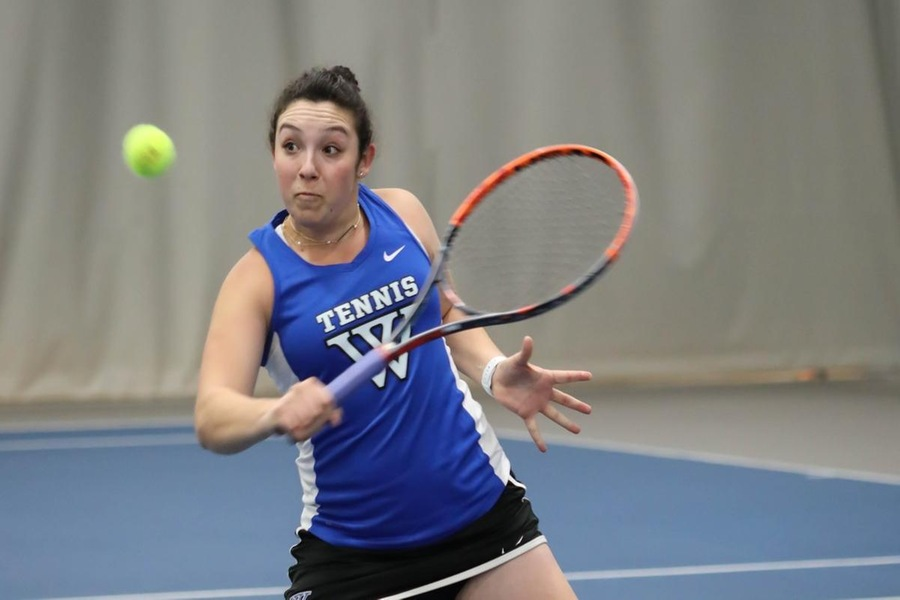 Korina Hernandez and Abigail Schleichkorn (pictured) earned an 8-4 win at No. 2 doubles (Miranda Yang).