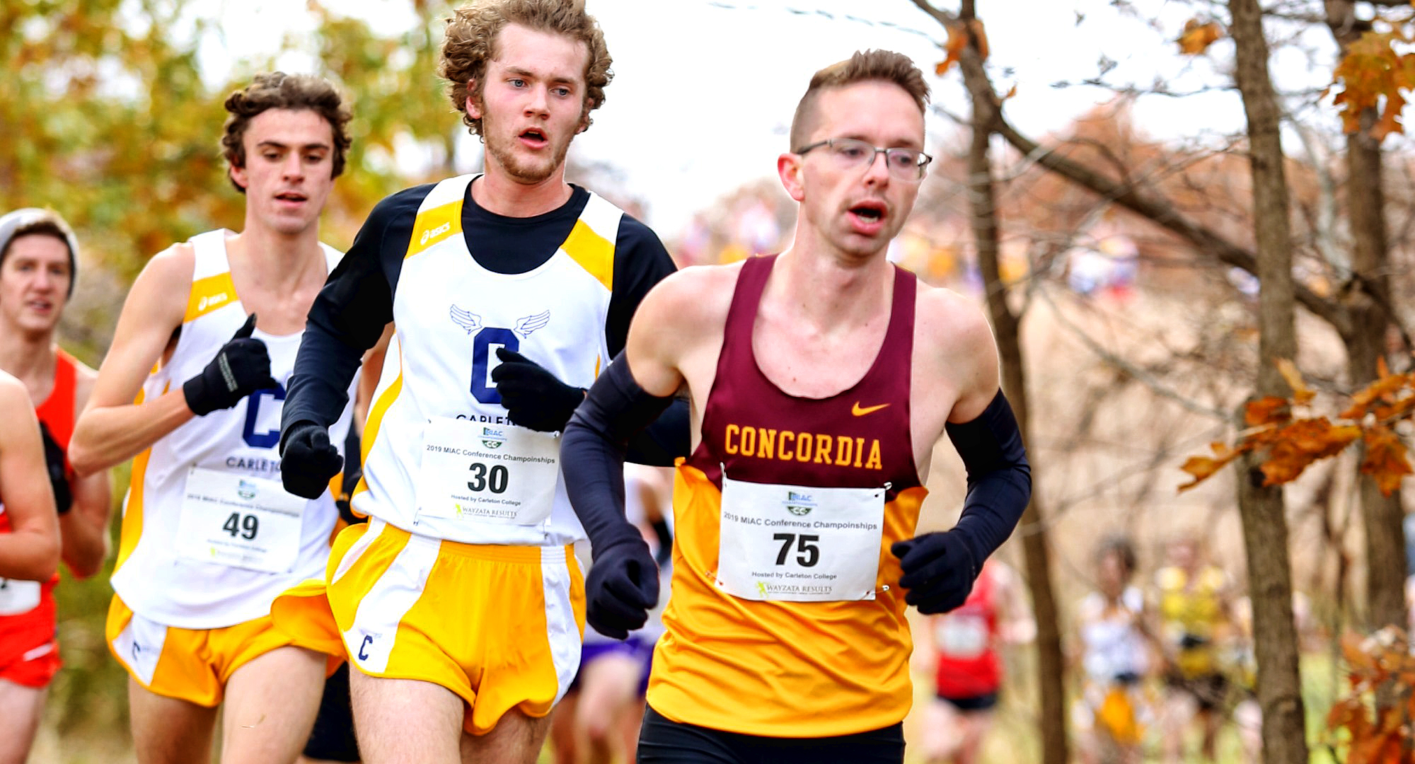 Senior Eric Wicklund races in the early stages of the MIAC Championship Meet. He went on to earn All-MIAC Honorable Mention honors. (Photo courtesy of Nathan Lodermeier)