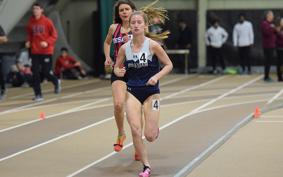 Sophomore Natalie Novotniu runs to the win in the 3,000 meters in the Moravian Indoor Invitational at Lehigh University's Rauch Fieldhouse.
