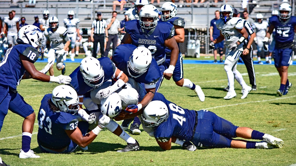 The Aztecs football team dropped their fourth straight in their 42-21 loss at Phoenix College on Saturday. The Aztecs are 2-7 overall and 0-5 in WSFL play. They'll host their final home game on Friday vs. Glendale Community College. Photo by Ben Carbajal