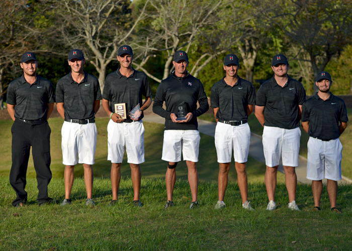 Drew Mathers (third from left) earned medalist honors and Huntingdon placed second in the O'Briant-Jensen Memorial. (Photo by Katy Holt, Guilford Athletics)