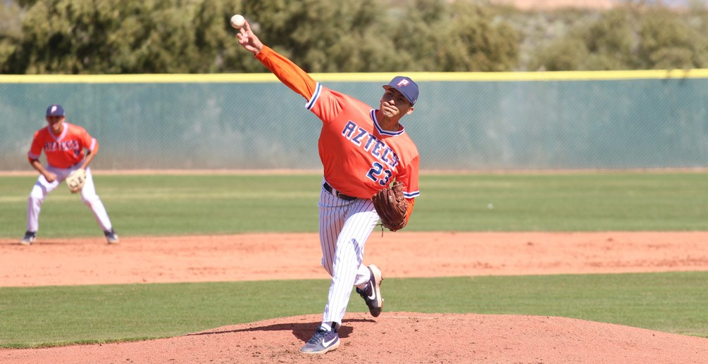 Sophomore Adam Moraga (Sunnyside HS) pitched a complete-game one-hit shutout with four strikeouts and two walks on 91 pitches in Pima's 8-0 win in the first game. The Aztecs dropped the second game 7-6 in 10 innings at Glendale Community College. The Aztecs are 23-11 overall and 11-8 in ACCAC conference play. Photo by Danielle Main