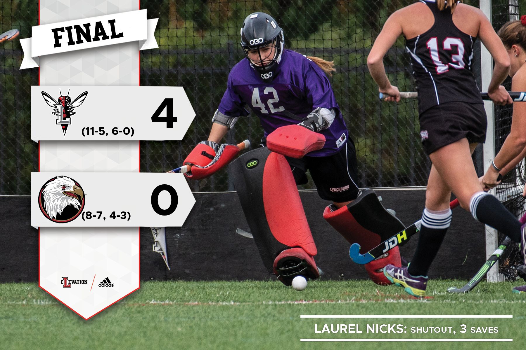 Field hockey goalie chasing ball. Graphic showing 4-0 final score and Lynchburg logo.