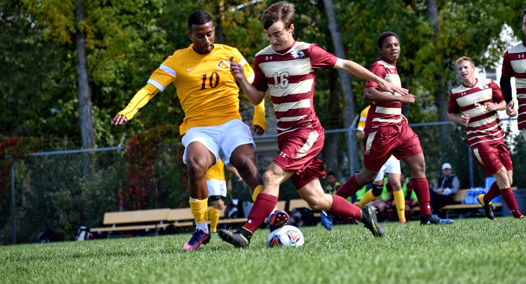 Junior Pierre Freitas-Elysee battles for the ball in the Cobbers' win over Coe. Freitas-Elysee assisted on the game-winning goal in double overtime. (Photo courtesy of Maddy Reed)