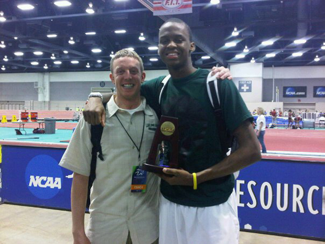 Head Coach Bryan Harmon and NCAA Indoor All-American high jumper Jamil Dudley (photo courtesy of Bryan Harmon)