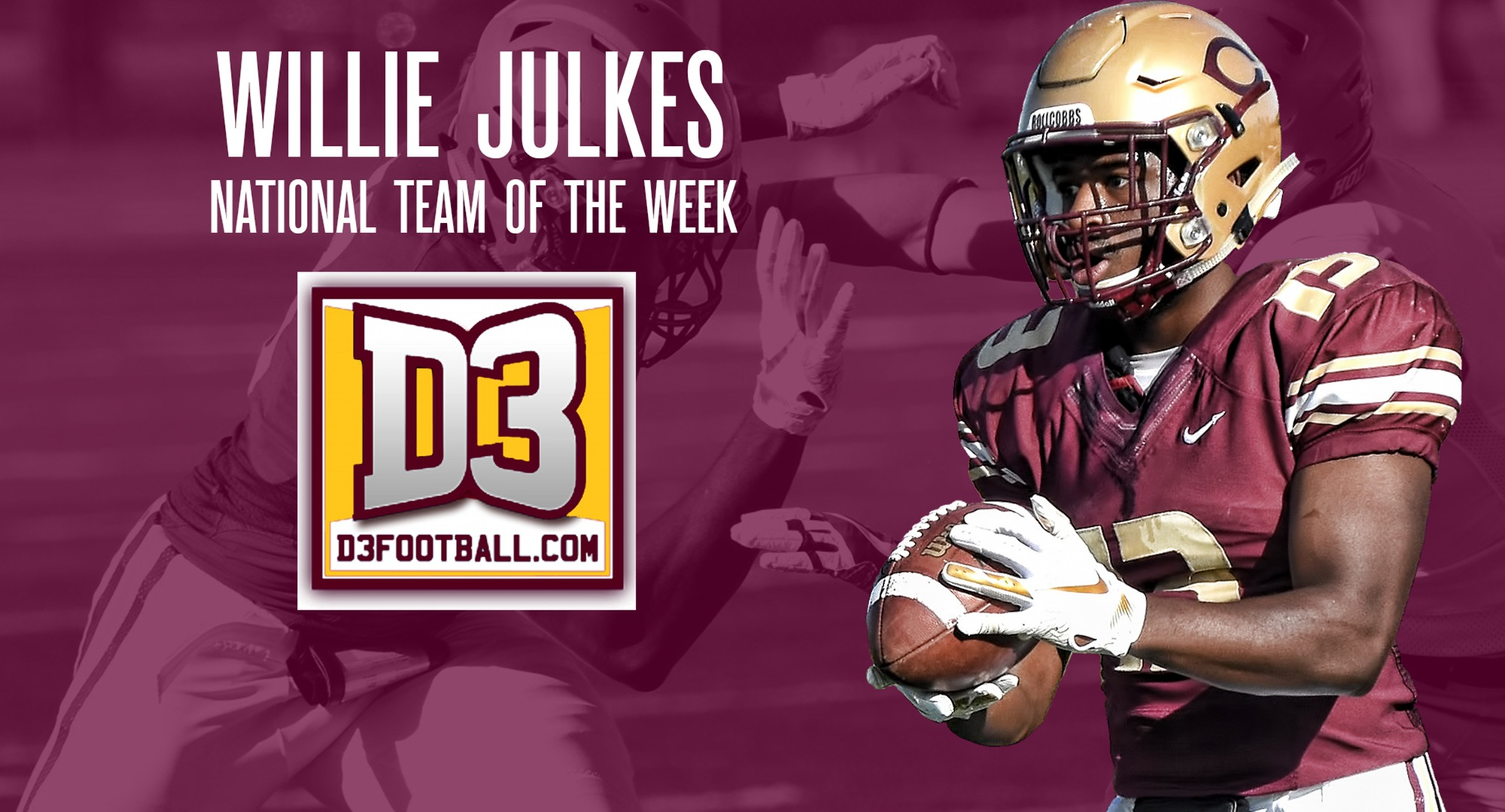 Senior Willie Julkes was named to the D3football.com National Team of the Week.