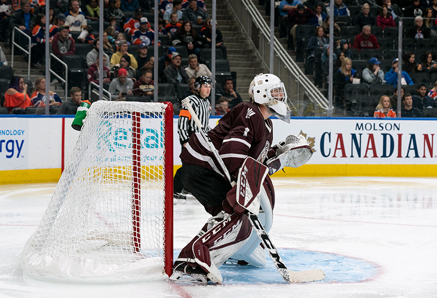 Marc-Olivier Daigle, shown playing in Rogers Place against the Oilers rookies last month, made 31 saves for the Griffins against SAIT on Friday, but they couldn't give him the goal support on the other end in a 2-1 overtime defeat (Matthew Jacula photo).