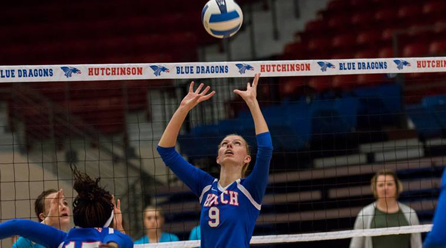 Cassidy Crites posted her first career double-double to lead the No. 19 Blue Dragons to a four-set win over Pima on Friday at the New Mexico Military Classic.