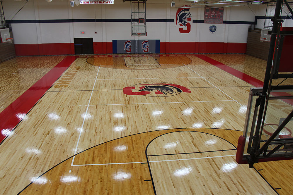 Student Center gymnasium floor as of Aug. 15, 2017.