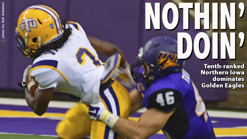 No. 10 Northern Iowa defends home turf, tops Golden Eagles 50-7