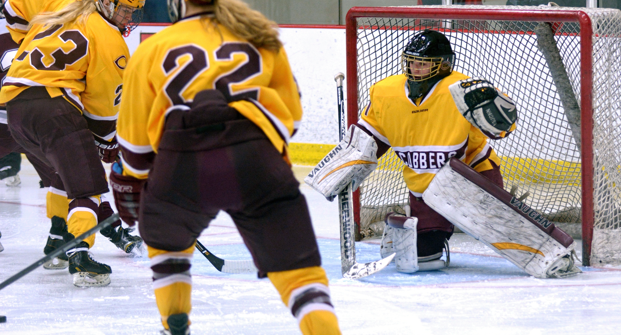 Senior goalie Andrea Klug turned aside 34 of the 36 shots she faced to help Concordia earn a 2-2 OT tie at Gustavus.