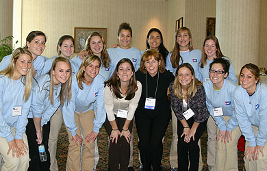 SU field hockey players at American Cancer Society conference.