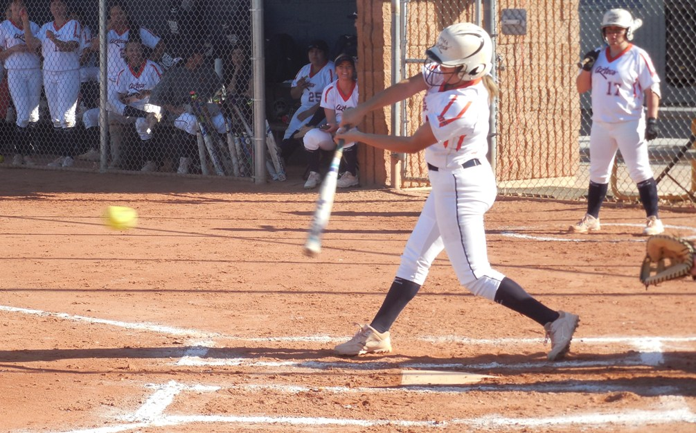 Freshman Mya Cabral (Pueblo HS) hit a three-run RBI double in the 5th inning of the second game but the rally would be cut there as the Aztecs softbal team split with Mesa Community College. The Aztecs are 9-3 overall and 2-2 in ACCAC conference play. Photo by Raymond Suarez