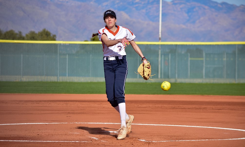 Freshman Abril Nerey (Rio Rico HS) pitched five innings giving up one run (one earned) on eight hits with five strikeouts and no walks on 71 pitches as the Aztecs swept Scottsdale Community College. The Aztecs have won four straight and eight of their last 10 games. They are now 23-20 overall and 19-17 in ACCAC conference play. Photo by Ben Carbajal.