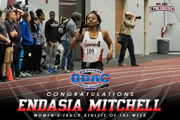 Endasia Mitchell runs on a track. Text: Congratulations Endasia Mitchell women's track athlete of the week