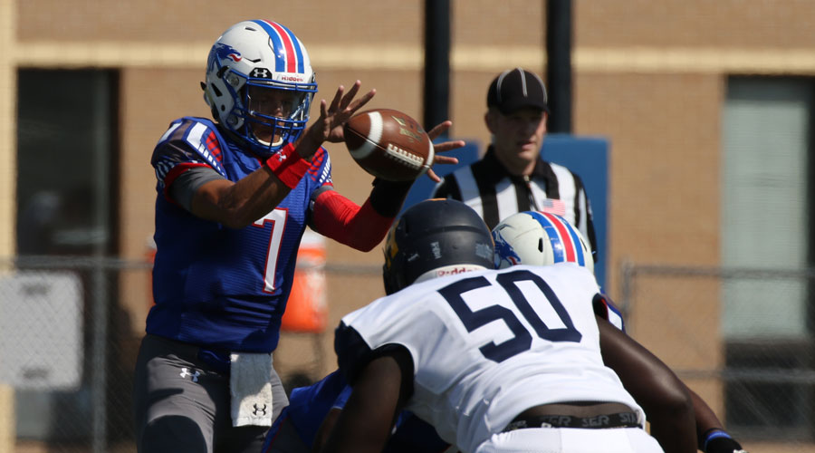 Cam Jones rushed for two touchdowns and threw for another as the No. 12 Blue Dragons defeated Ellsworth 25-13 on Saturday in Iowa Falls, Iowa. (Joel Powers/Blue Dragon Sports Information)