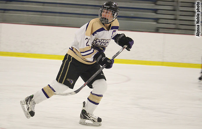 Eight Purple Knights score as women's ice hockey tops Daniel Webster to end first semester