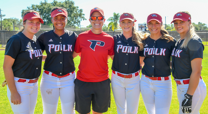 Sophomores Krista Hoyt, Victoria Perry, Destiny Breeden, Lauren Estrada, and Lyndsey Carlton pose with Head Coach Donna Byars on Sophomore Night. (Photo by Tom Hagerty, Polk State.)