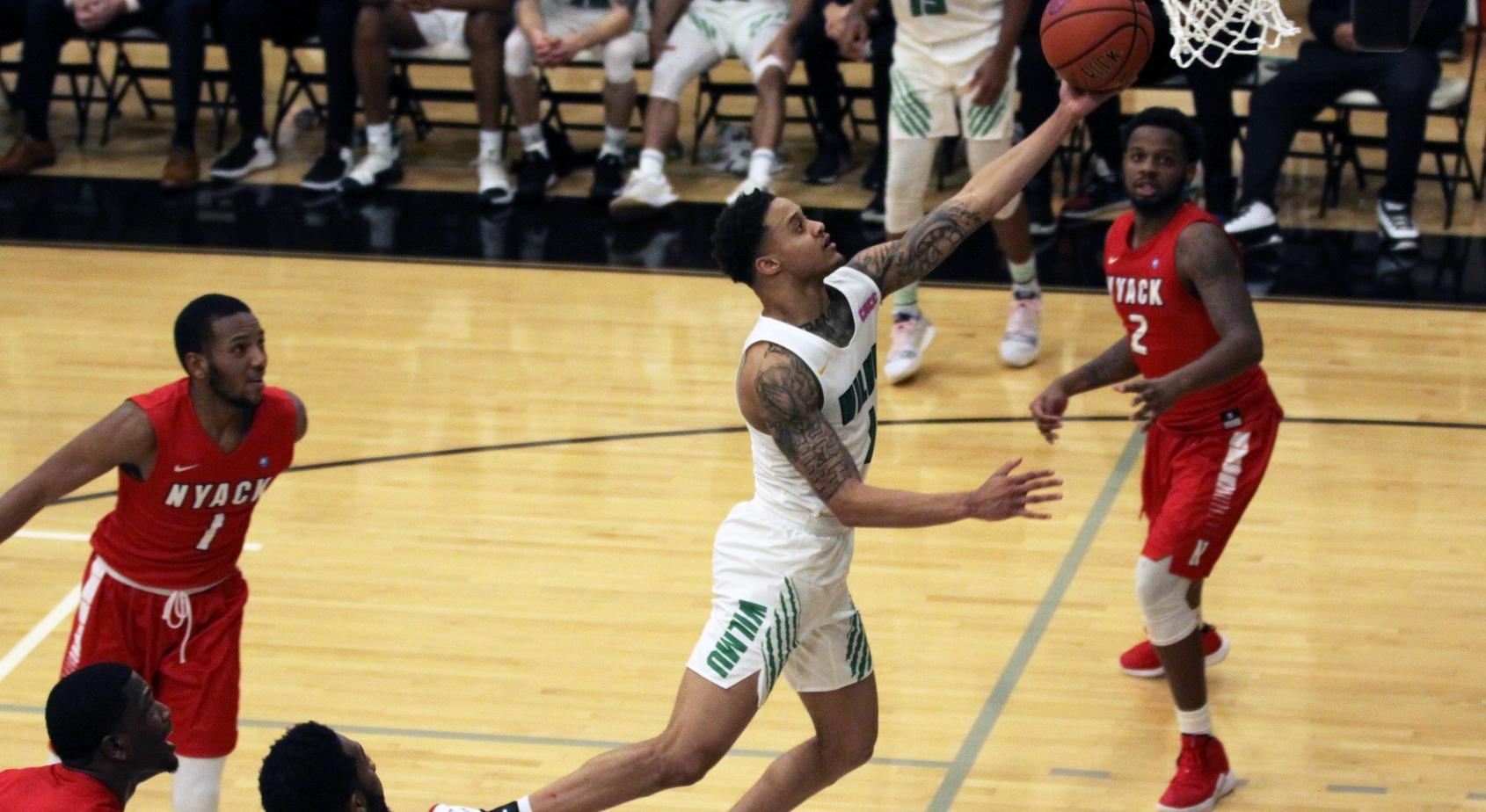 Copyright 2019; Wilmington University. All rights reserved. Photo of Jermaine Head who contributed a double-double with 19 points and 10 rebounds against Nyack. Photo by Dan Lauletta. January 5, 2019 vs. Nyack.