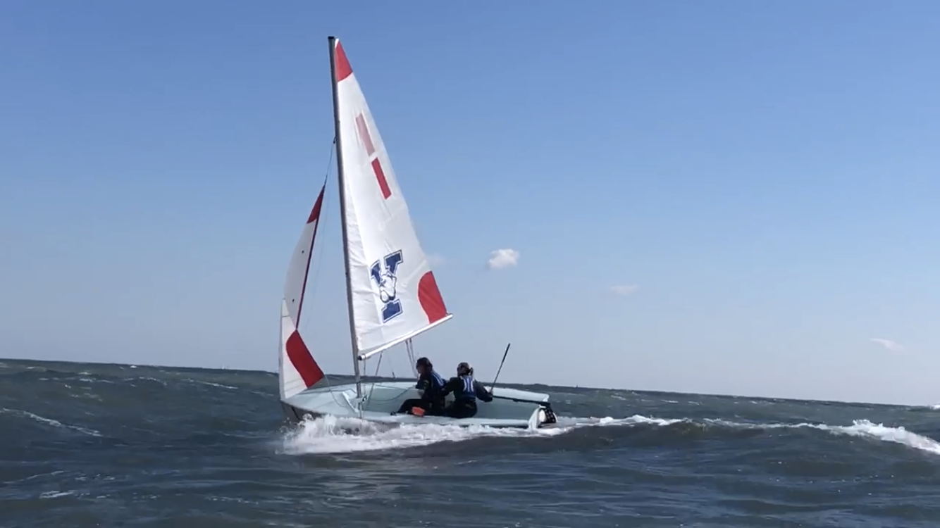 Lovisa Nordstrom and Katie Clulo sailing downwind. Photo courtesy of coach extraordinaire Martim Anderson.