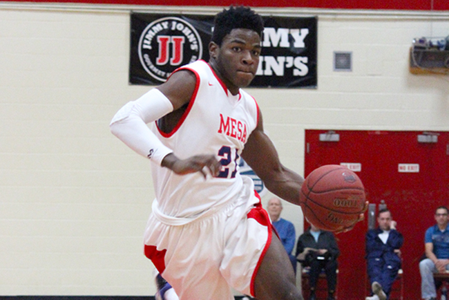 Jamil Wilson-Jones finished with a double-double (14 pts, 11 reb.) in Mesa's win over Glendale Wednesday night. (Photo by Bob Sacamano)