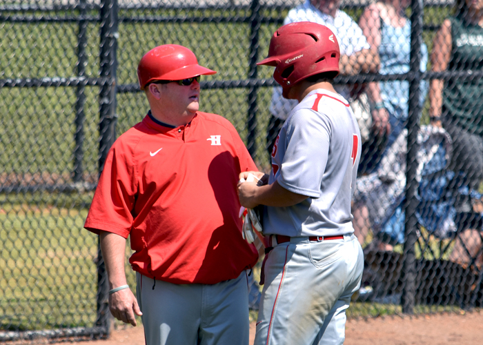 Baseball coach D.J. Conville earned his 350th career win with a sweep of Covenant College on Saturday.