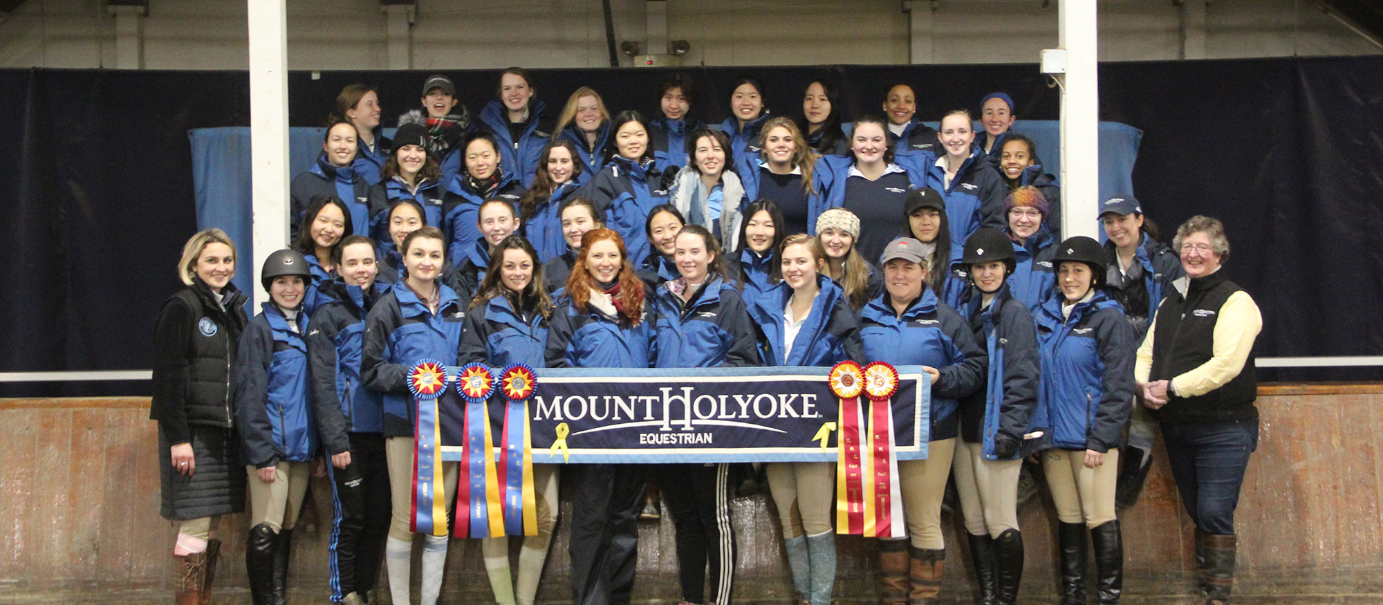 Group photo of the Lyons Equestrian Team following their victory at home on March 3, 2018.