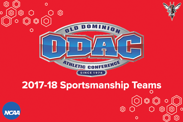 Red background with honeycomb accent. ODAC logo centered. Text: 2017-18 Sportsmanship Teams. Logos in corner: Lynchburg Hornet, NCAA.