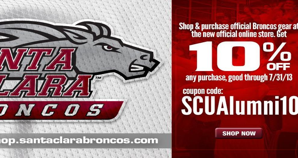 Santa Clara Alums: Receive 10% Off on the Broncos' Online Retail Store Until July 31st