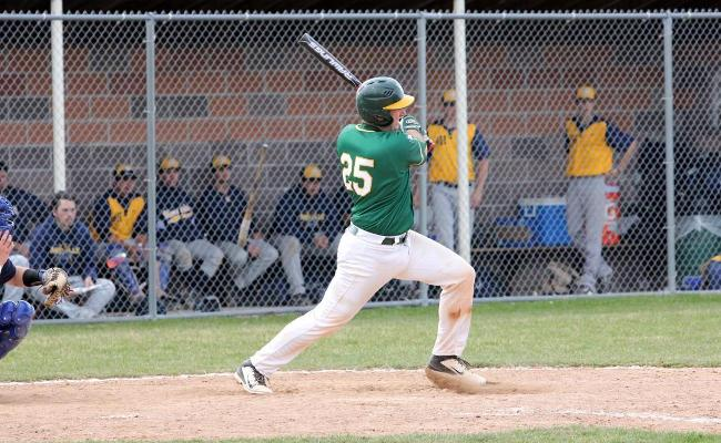 Junior Kyle Dailey hit a three-run home run, his first college homer, in game two, but baseball was swept by Utica College Wednesday (photo courtesy of Ed Webber).