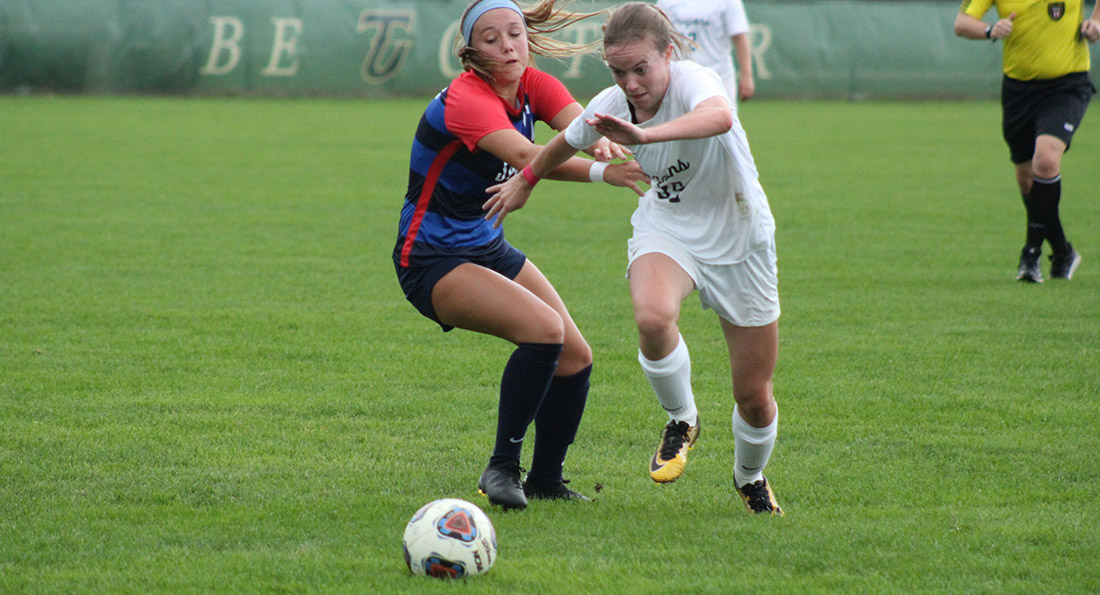 Alli McCabe scored two goals in the Dragons 3-2 loss at Findlay.