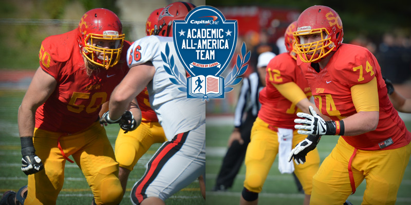 Senior defensive tackle Alex Severn (50) and junior offensive lineman Blake Bergstrom (74) were named to the 2014 NCAA Division III Capital One Academic All-Distirct 8 First Team.