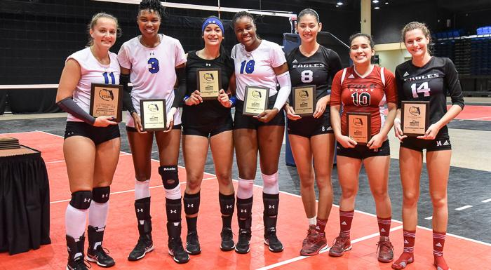 Weiying Wu (8), Diana Carranza (10), and Chiara Bosetti (14) earned places on the All-Tournament Team at the NJCAAA District/FCSAA State Volleyball Tournament. (Photo by Tom Hagerty, Polk State.)