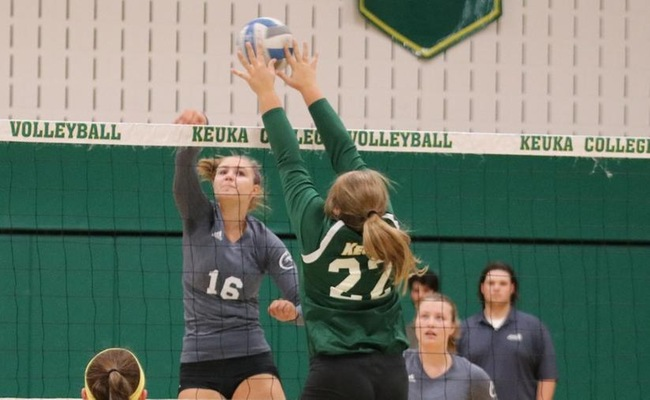 Katelyn Warren (22) led Keuka College with 6 blocks against Morrisville State