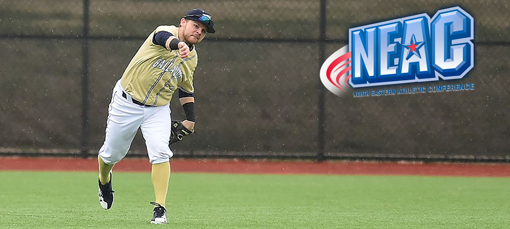 Gallaudet outfielder Kyle Gumm (left) throws a baseball into the infield. A NEAC logo is in the upper right corner