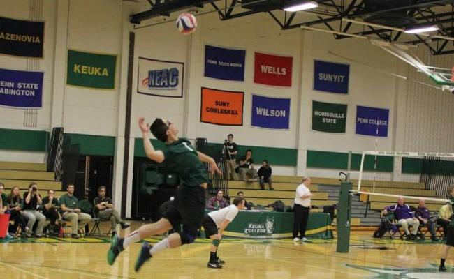 Freshman Aaron Brill and the Keuka College men's volleyball team went 1-2 during this weekend's second NEAC crossover competition (photo courtesy of Megan Chase, Keuka College Sports Information department).