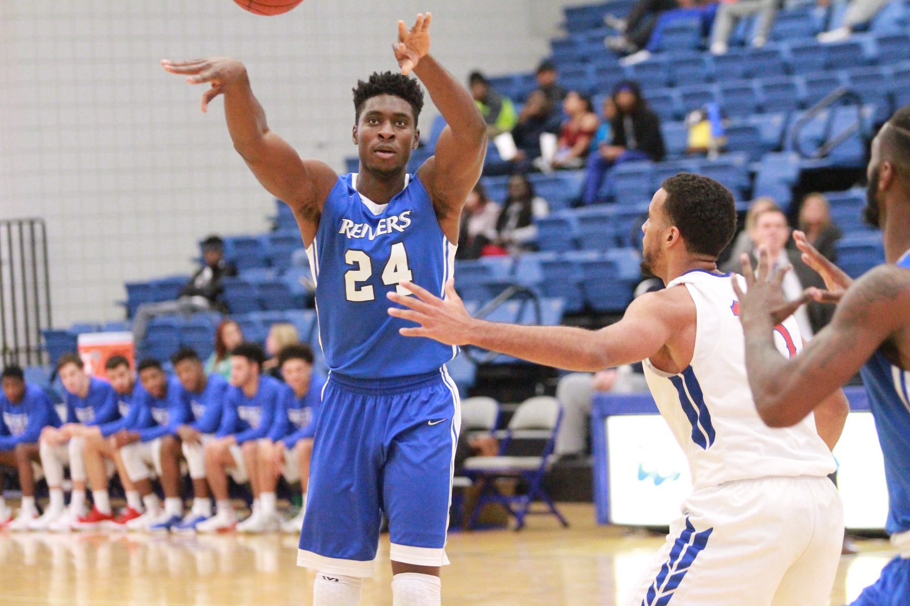 Emmanuel Ugboh scored 12 points, grabbed 8 rebounds, and blocked 6 shots in Iowa Western's road victory at Central (NE) Tuesday night.