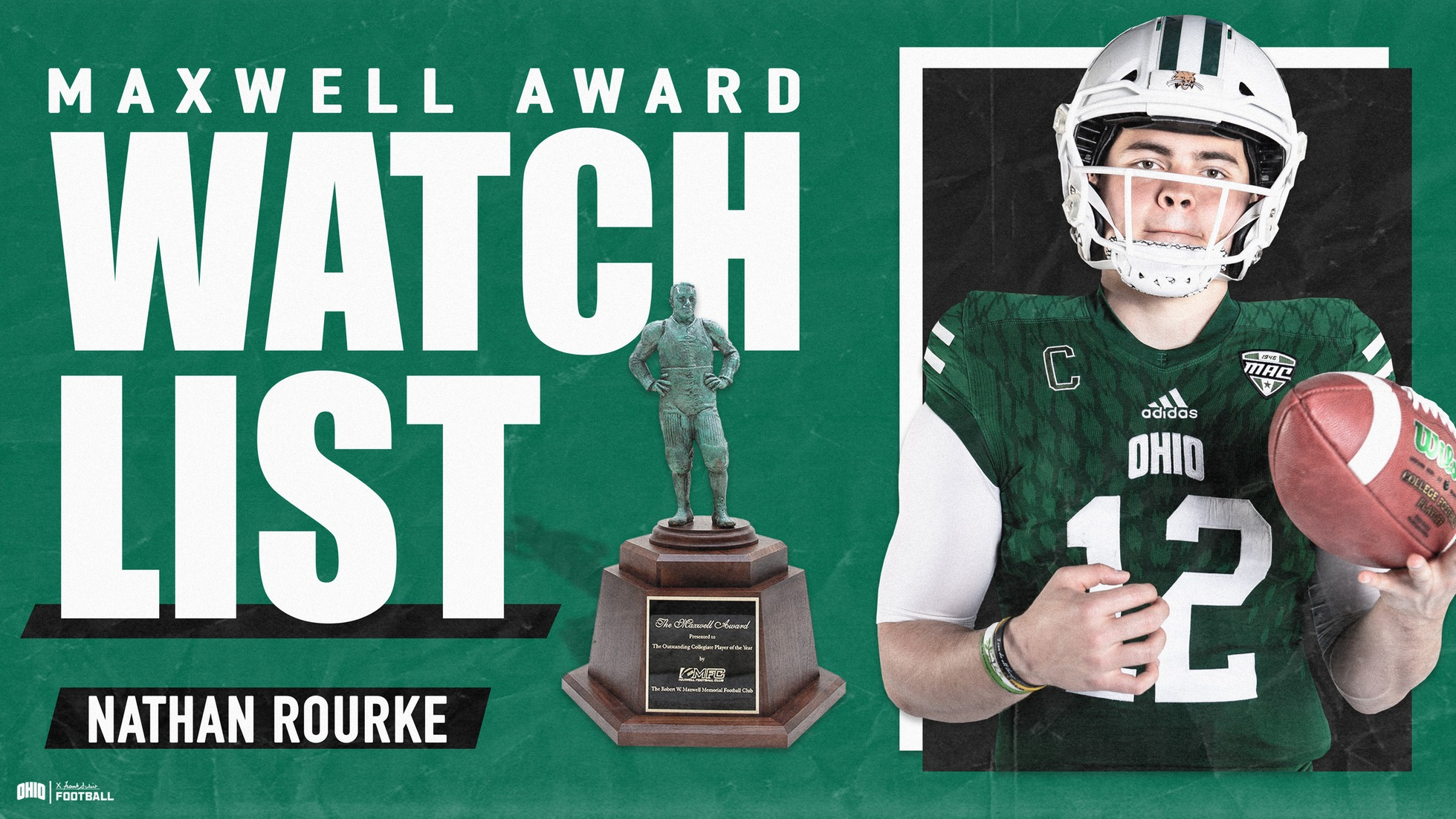 Ohio Football's Rourke Named To 2019 Maxwell Award Watch List