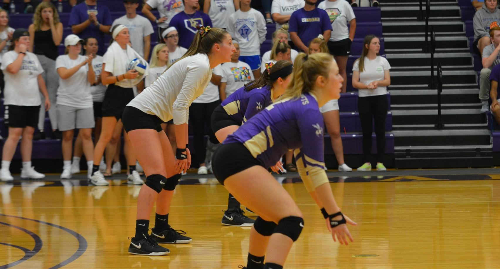 Volleyball Splits Tri-Match with Thrilling Five Set Victory