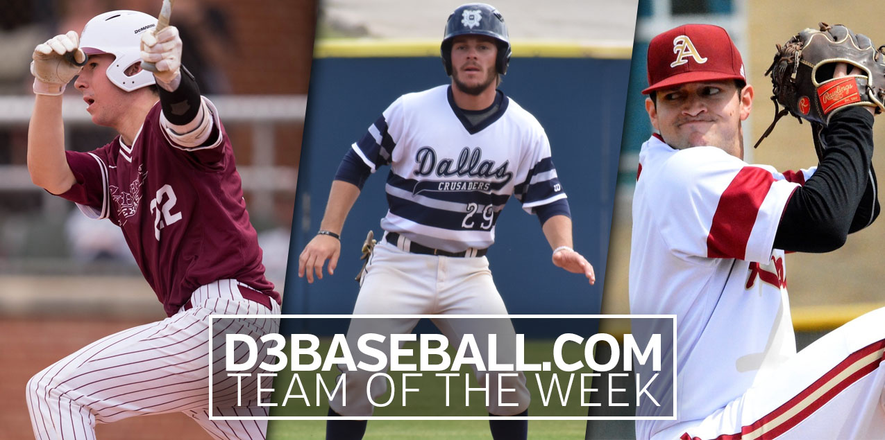Three SCAC Players Earn D3Baseball.com Team of the Week Honors