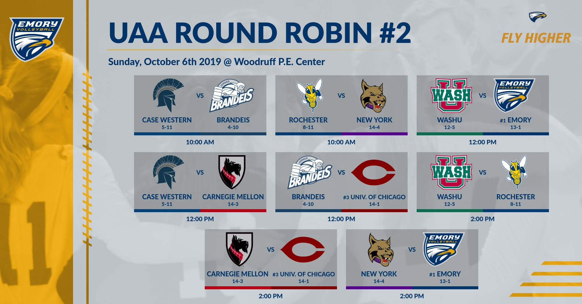 Emory Volleyball To Host UAA Round Robin II