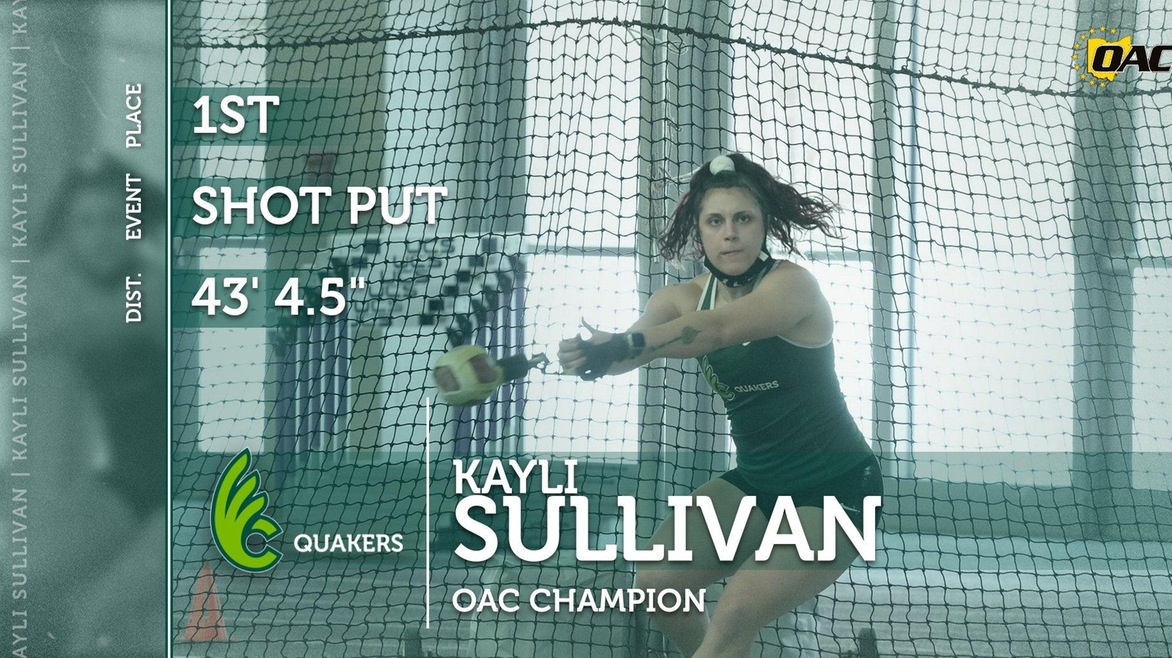 Kayli Sullivan Earns All-OAC Honors at Indoor Championships with First and Second Place Finishes