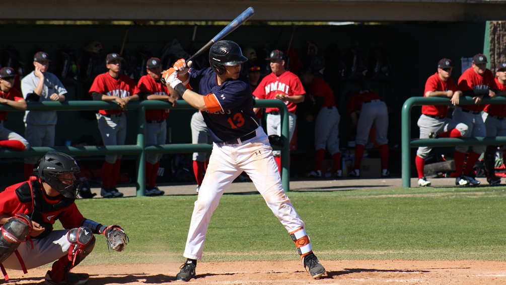 Sophomore Marcus Mendez (Desert View HS) finished the day 5 for 8 with six RBIs and three runs scored as the Aztecs split with El Paso Community College. The Aztecs are 6-2 overall. Photo by Rene Escobar/AztecPress