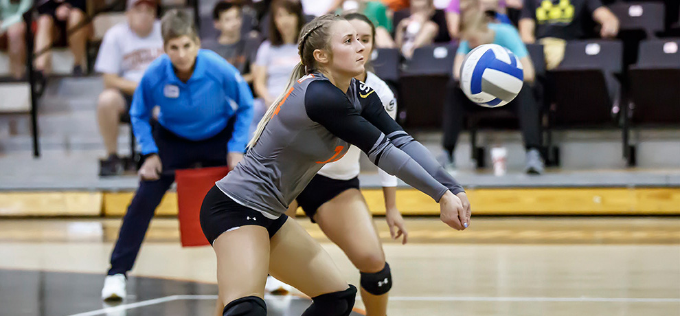Mazur moves into second on TU digs list, Pioneers fall to undefeated Wingate