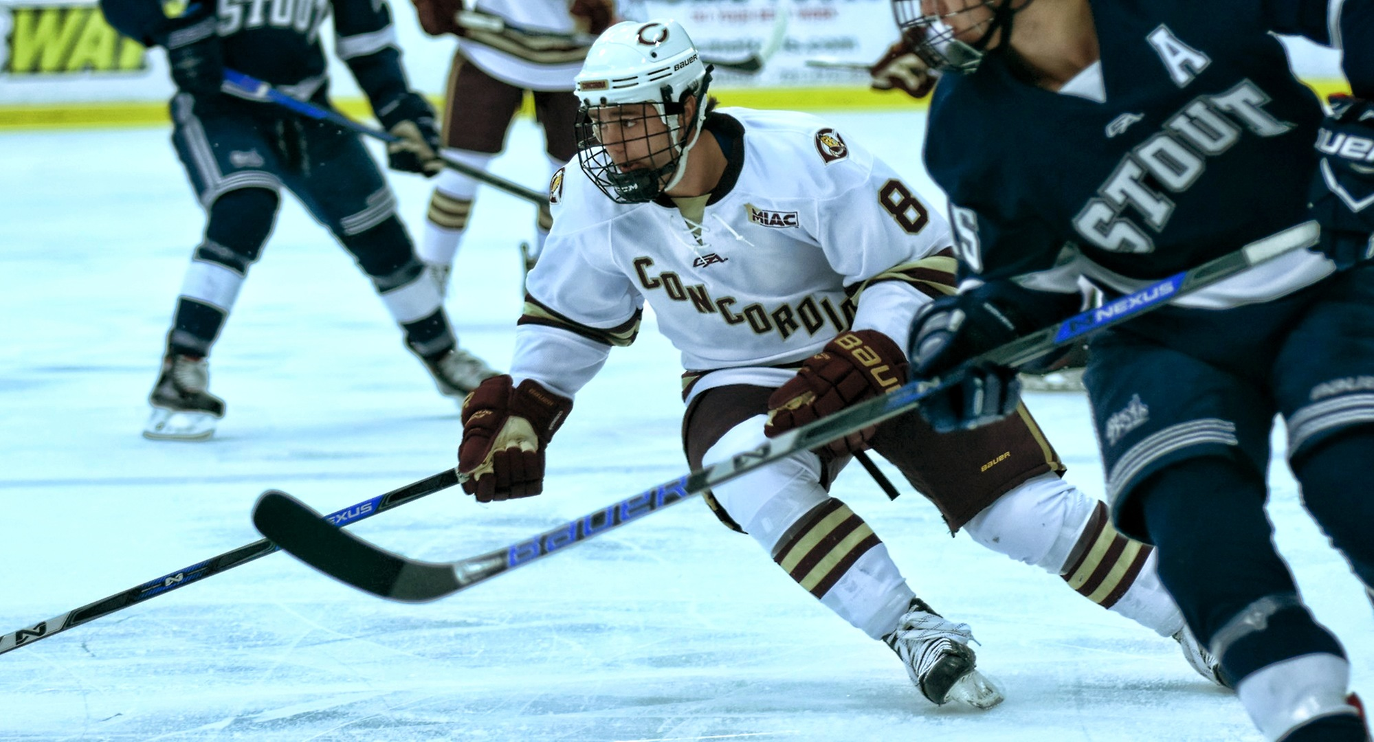 Junior Aaron Herdt crosses the blue line in the Cobbers' game with Wis.-Stout. He scored both of the goals for CC.