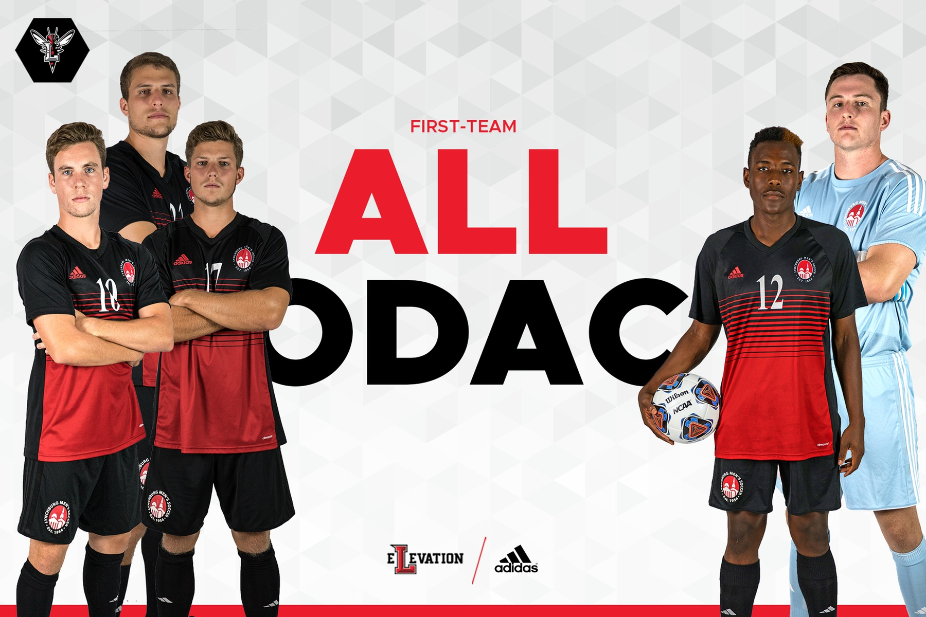 Images of the five first-team all-conference men's soccer players on white background. Text in red: First-team all-ODAC
