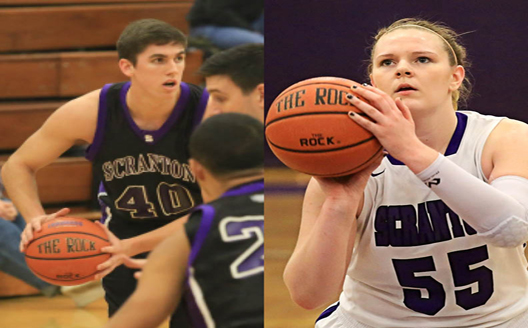 Junior Brendan Boken (left) and senior Meredith Mesaris (right) have been named the National Jesuit Players of the Week for the period ending Sunday, January 4.