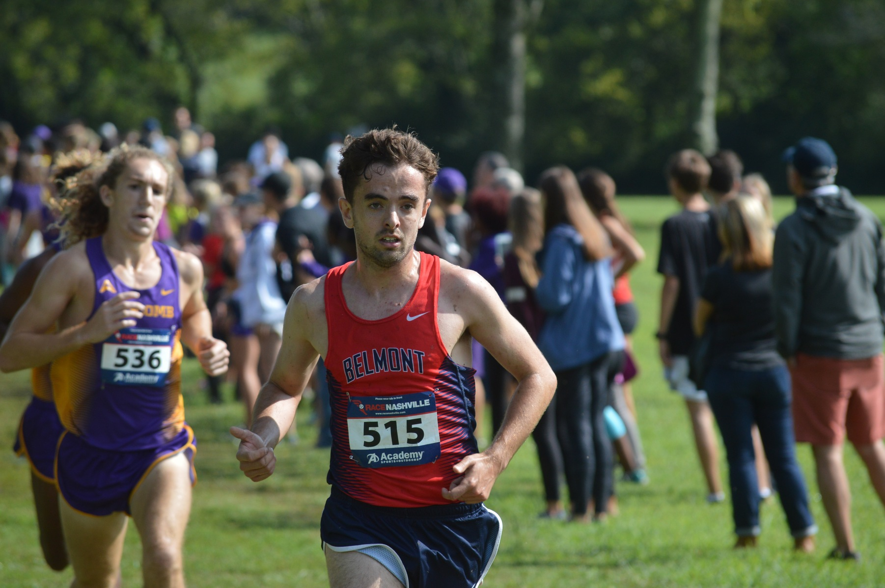 Belmont's Matt Edwards takes the lead in the final mile of the Belmont Opener at Percy Warner Park on Saturday.